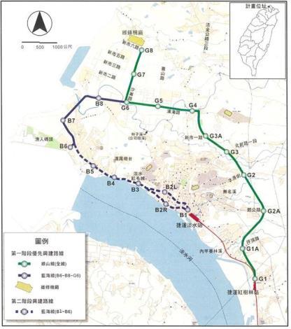 淡海輕軌運輸系統計畫路線興建順序圖-資料來源:淡水捷運延伸線工程環境影響說明書.JPG