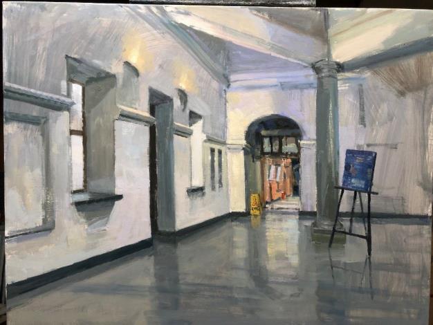 中華民國油畫學會理事長楊永福畫作「北翼迴廊」