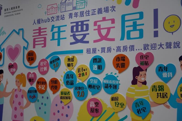 「社會對話—人權Hub交流站」青年居住座談會,現場背板呈現與談者的訴求與心聲。.JPG